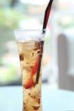 Lychee soda on wood background Royalty Free Stock Image