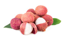 Lychee stack of litchi fruits isolated on white Royalty Free Stock Photo