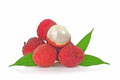 Lychee on white background royalty free stock image