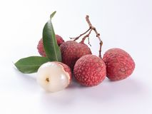 lychee on white background stock photos