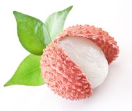Lychee With Leaves Royalty Free Stock Photos