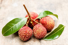 Lychee on a wooden. Thai Lychee on a wooden Stock Images