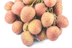 Lychees на белой предпосылке Стоковая Фотография