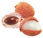 Lychees. Lychees fruit on white background Stock Images