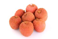 Lychees. Some lychees isolated on white Stock Image
