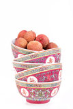 Lychees in bowls Royalty Free Stock Image