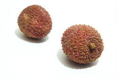 Lychees exotic fruit. On a white background Royalty Free Stock Photo