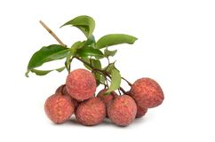 Lychees fraîches d'isolement Photos stock