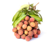 Lychees fruit. Fresh lychees on white background Royalty Free Stock Photos