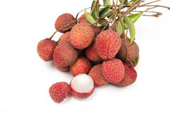 Lychees isolated on white background Royalty Free Stock Photography