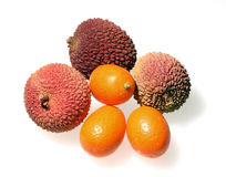 Lychees and Kumquats. Three Lychees and Three Kumquats Showing Different Textures and Colors Royalty Free Stock Photography