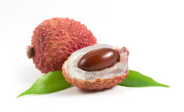 Lychees with leafs Stock Photos