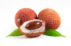 Lychees with leafs Stock Images