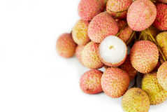 Lychees macro isolated Royalty Free Stock Photography