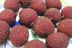 Lychees on Plate Stock Images