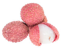 Lychees  on white Royalty Free Stock Image