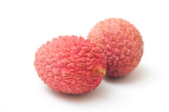 Lychees on white background Royalty Free Stock Image