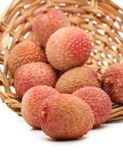 Lychees in a wicker basket Royalty Free Stock Photography