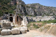 Lycian Amphitheater in Myra, Demre. Myra (Ancient Greek: Μύρα [plural]) was an ancient Greek town in Lycia where the small town of Kale (Demre) is situated Stock Photo