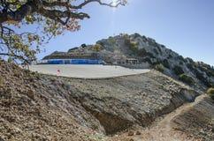 Lycian足迹,土耳其,登上Babadog滑翔伞区域,铺磁砖 免版税库存照片