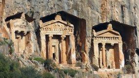 Lycian-ähnliche Könige Tombs in Dalyan in der Türkei lizenzfreie stockbilder