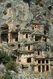 lycian berg för gravar arkivbilder