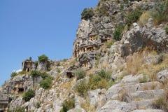 Lycian-Felsen-Schnittgräber Stockbilder