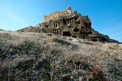 Lycian-Felsengräber geschnitzt im Leid geschossen an einem hellen Tag stockfotos
