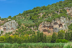Lycian kings' tombs. Dalyan, Turkey royalty free stock photo