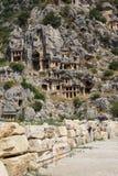 Lycian rock cut tombs Royalty Free Stock Image