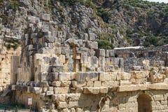 Lycian rock cut tombs Stock Photos