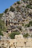 Lycian rock cut tombs Stock Photography