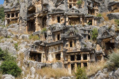 Lycian rock cut tombs Royalty Free Stock Images