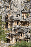 Lycian rock cut tombs Royalty Free Stock Photography