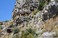 Lycian rock cut tombs Stock Photos