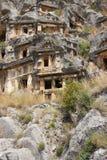 Lycian rock cut tombs Royalty Free Stock Photos