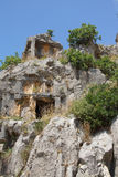 Lycian rock cut tombs Royalty Free Stock Photo