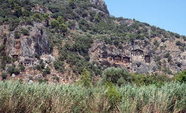 Lycian rock cut tombs of Kaunos (Dalyan) Stock Photos