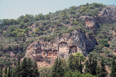 Lycian rock cut tombs of Kaunos (Dalyan) Stock Images