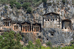 Lycian Rock Cut Tombs Kaunos, Dalyan, Turkey Royalty Free Stock Photo