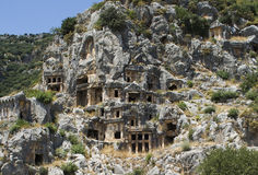 Lycian Rock-cut tombs in Myra Stock Image
