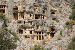 Lycian Rock-cut tombs in Myra Royalty Free Stock Photography