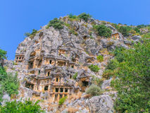 Lycian Rock-cut tombs in Myra Stock Photography