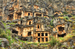 Lycian Rock Tomb, HDR photography. Lycian Rock Tomb in ancient Myra Turkey Stock Image