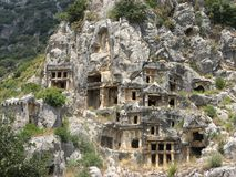 Lycian rock tombs Royalty Free Stock Image