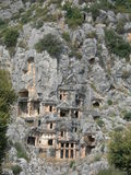 Lycian rock tombs in Mirra. Royalty Free Stock Photography