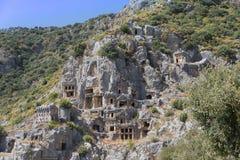 Lycian rock tombs, Myra, Turkey. Lycian rock tombs, seen at the ancient site of Myra, Demre, Southern Turkey Royalty Free Stock Photography