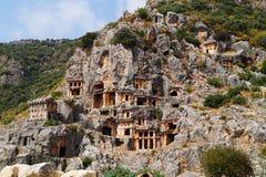 Lycian rock tombs, Turkey stock image