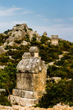 Lycian tomb in the ancient cemetery in Simena. Stock Photo