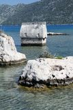 Lycian tomb in the sea Royalty Free Stock Images